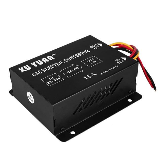 2016 Newest Reliable Auto Car Vehicle 15A DC 24V to 12V Power Supply Inverter Transformer Convertor Inverter