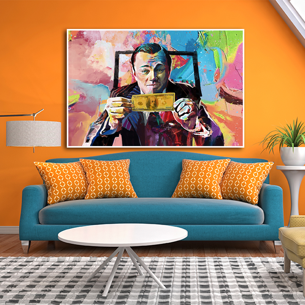 Graffiti Art Large Canvas <font><b>Painting</b></font> movie The Wolf of Wall Street <font><b>Leonardo</b></font> <font><b>DiCaprio</b></font> Posters Print Wall Art Living Room Home Decor image