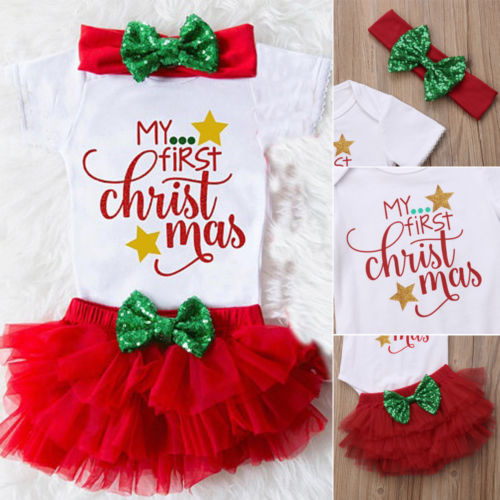 AU Newborn Baby Girl My First Christmas Jumpsuit Romper Bodysuit+Shorts Clothes wisefin baby christmas outfits long sleeve baby girl clothes set my first christmas girl cotton newborn bodysuit overalls skirts