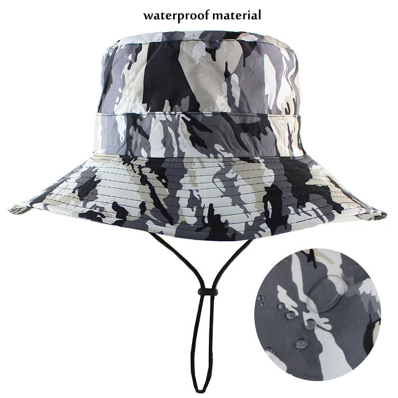 78dbc164aac ... Waterproof Camouflage Boonie Hat Military Bucket Hunting Fishing Men  Women Panama Outdoor Sports Sun Hat Summer ...