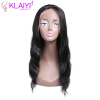 Klaiyi Hair Wave Remy Hair Wig 16 24 Inch Front Lace Wigs Pre Plucked 130% Density Human Hair Wig 4/2//1/27/30/99J Colors No.17