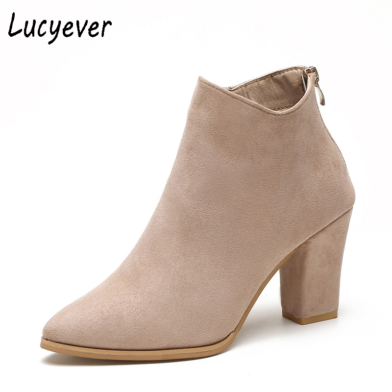 Lucyever Women Ankle Boots Leisure Thick High Heels Pointed Toe Shoes Woman Autumn Winter Casual Faux Suede Back Zipper Boots egonery quality pointed toe ankle thick high heels womens boots spring autumn suede nubuck zipper ladies shoes plus size