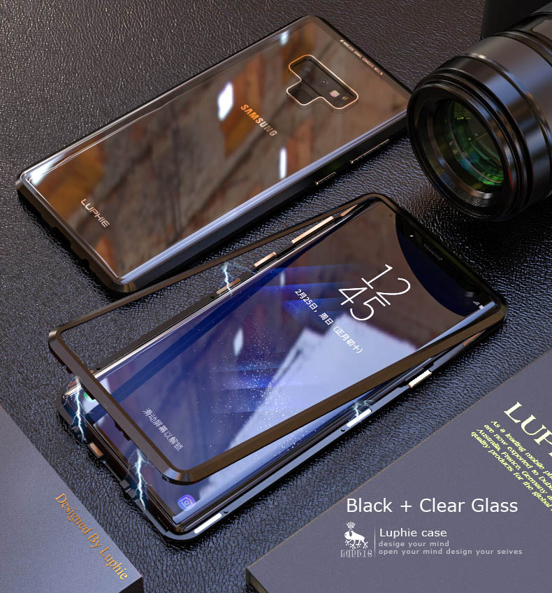 LUPHIE Magnetic Case For Samsung Galaxy Note 9 Clear Glass Magnet Case (9)