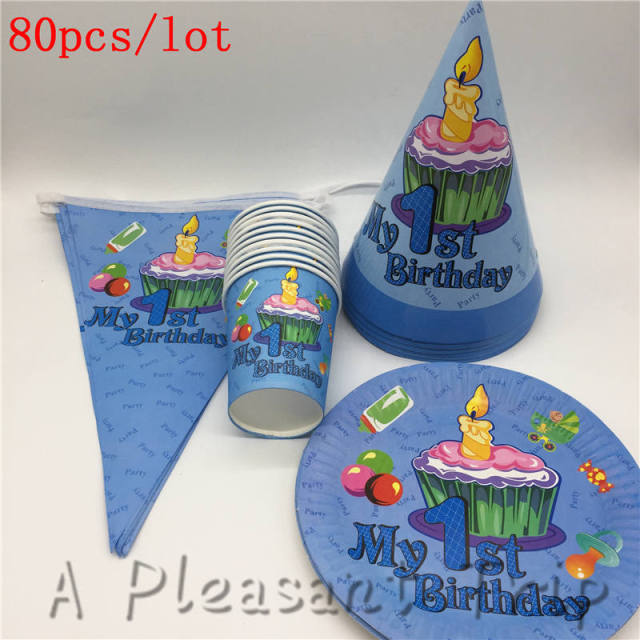 80pcs Lot Decorate Hat Boy Child Favor Napkin First Birthday Party Paper Cup Baby Shower Banner Supplies Set