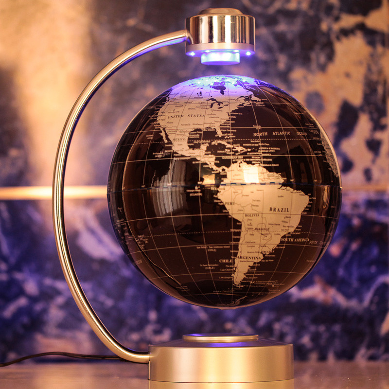 Home Office Desk Decorative Ornament 220V Electronic Magnetic Levitation  Floating LED Globe World Map Xmas Birthday Gift 8 Inch In Figurines U0026  Miniatures ...