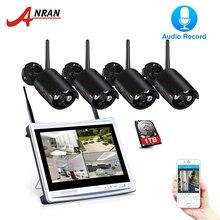 ANRAN 4CH CCTV системы беспроводной 1080 P 12 дюймов NVR безопасности камера с 2MP открытый wi fi звук для камеры наблюдения комплект
