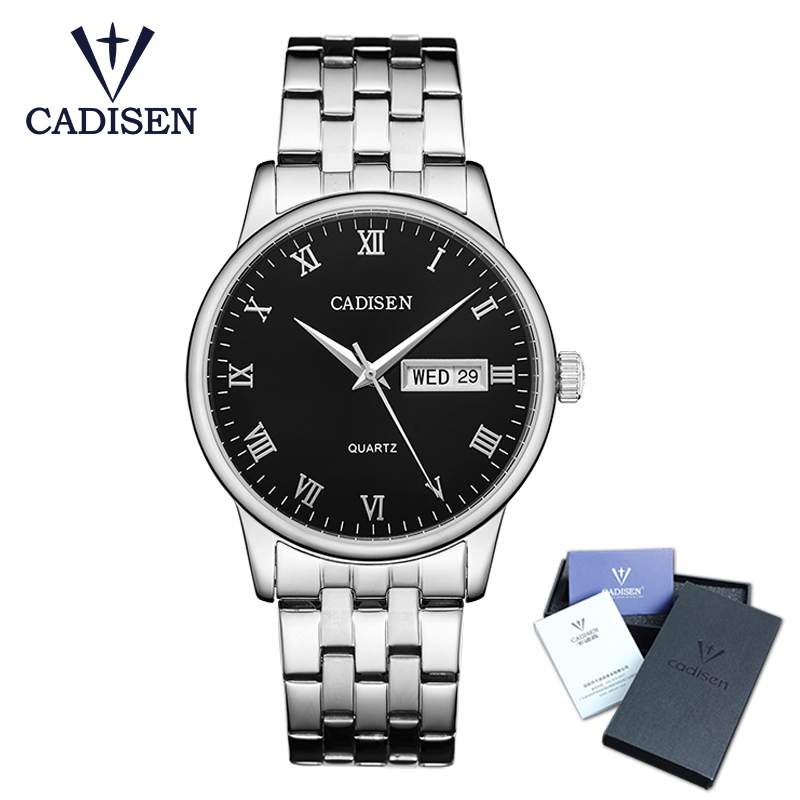 2018 Mens Watches Top Brand Luxury Cadisen Business Stainless Steel Quartz Watch Men Classic Waterproof Clock relogio masculino migeer relogio masculino luxury business wrist watches men top brand roman numerals stainless steel quartz watch mens clock zer