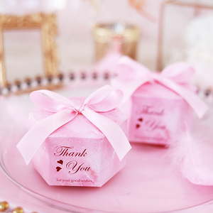 Image 2 - 50/100 rosa Starry Sky Hexagon Candy Boxen Hochzeit Baby Dusche Geschenk Boxen Danke Schokolade Boxen Weihnachten Party Decoraions