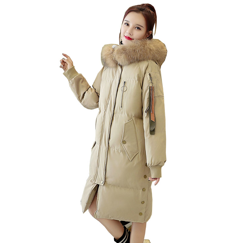 Plus size Womens Down Cotton Jackets Winter Thicker Parkas 2018 New Big Fur Collar Hooded Jacket Feather Padded Coat Female L305 gkfnmt winter jacket women 2017 fur collar hooded parka coat women cotton padded thicken warm long jacket female plus size 5xl