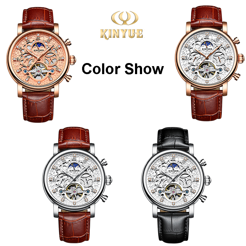 Kinyued New Top Brand Mechanical Watches Men Hollow Skeleton Tourbillon Automatic Self-wind Hand Watch Leather Strap Wristwatch
