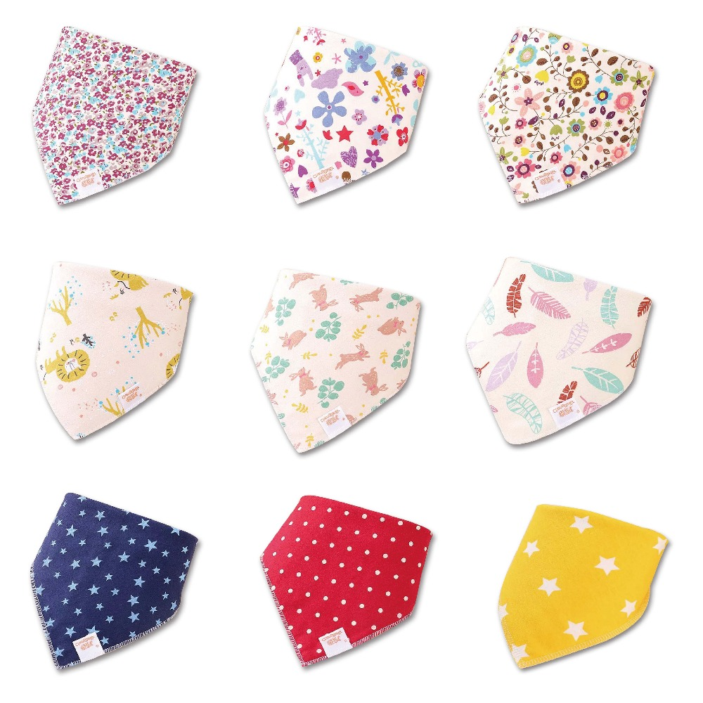 HI&JUBER 2019 Baby Bibs For Boy&Girl Bib Burp Cloth Print Triangle Cotton Baby Scarf Meal Collar Burp Baby Accessories(China)