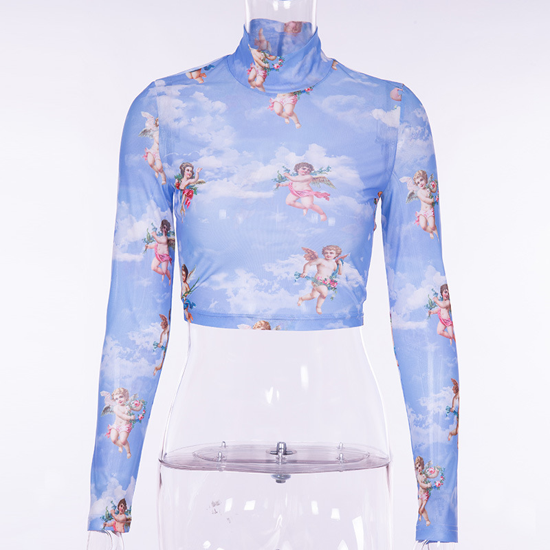 f0e4549439 BOOFEENAA Cupid Angel Print Blue Mesh Turtleneck Long Sleeve Crop Top  Graphic Tees Women Harajuku T Shirt Spring 2019 C66 I00-in T-Shirts from  Women's ...