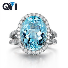 QYI 925 Sterling Silver Halo Engagement Rings 6.0 Ct Big Oval Natural Sky Blue Topaz Dinner Party Jewelry Luxury Gemstone Ring