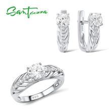 SANTUZZA Jewelry Set For Women Pure 925 Sterling Silver Shiny White Cubic Zirconia Ring Earrings Set Simple Fashion Jewelry