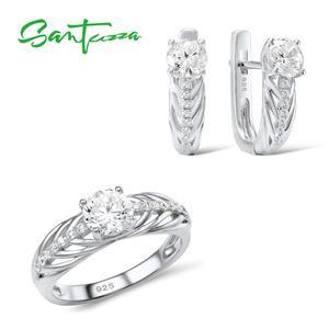 Image 1 - Santuzza conjunto de jóias para as mulheres puro 925 prata esterlina brilhante branco zircônia cúbica anel brincos conjunto simples moda jóias