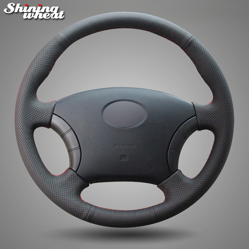 Shining wheat Black Genuine Leather Steering Wheel Cover for for Great Wall Haval Hover H3 H5 Wingle 3 Wingle 5