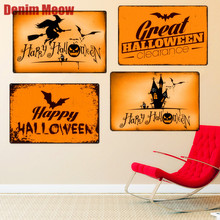 Happy Halloween Vintage Metal Tin Signs Home Bar Pub Party Decorative Plates Pumpkin Wall Stickers Witch Iron Art Poster N232