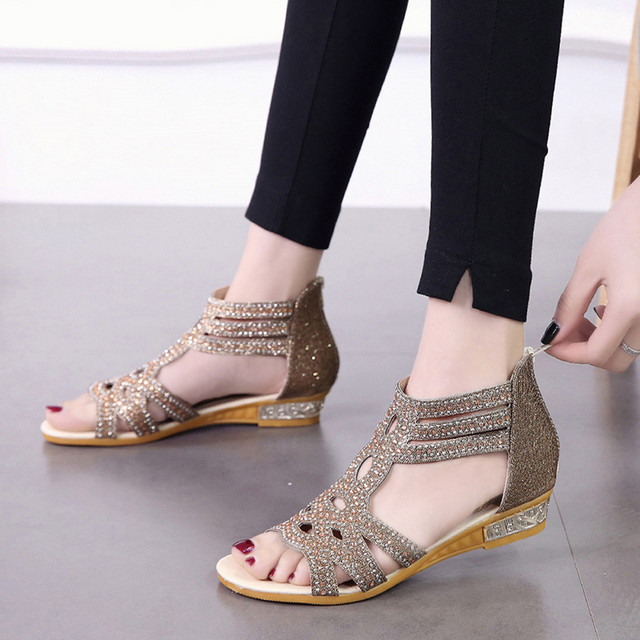 4fa76f4af4877c 2019 Spring Summer Sandals For Ladies Women Wedge Sandals Fashion Open Toe  Flat Fish Mouth Hollow