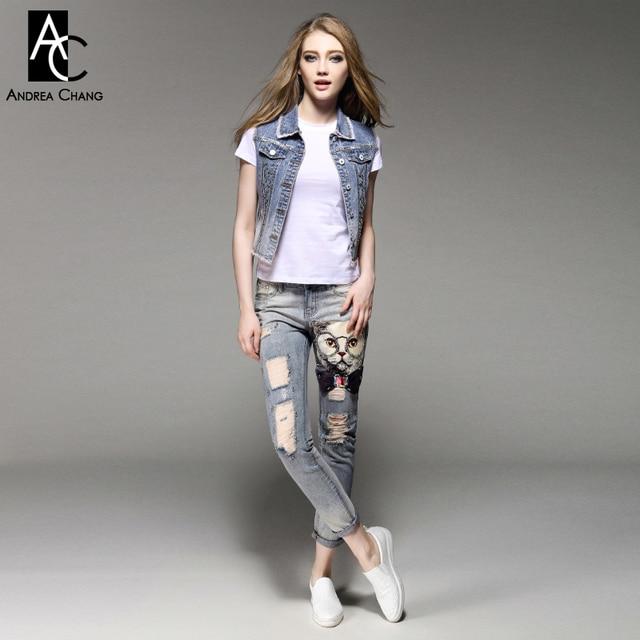 Весна лето взлетно-посадочной полосы дизайнер женской одежды набор джинсовой костюм бисером жилет джинсы кошка печати моды панк бренд деним костюм