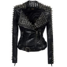 Faux leather PU Jacket Punk Rivet Women fashion Winter Autum