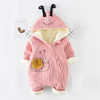 6M 24M Baby Clothing Baby Girl Romper Cartoon Cute Snail Striped Rompers Thickening Keep Warm Baby