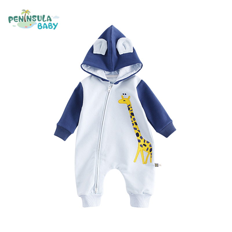 Autumn Winter Baby Rompers Cartoon Cute Giraffe Long Sleeves Boys Girls Clothing Cotton Newborn Hooded Jumpsuit Baby Product baby climb clothing newborn boys girls warm romper spring autumn winter baby cotton knit jumpsuits 0 18m long sleeves rompers