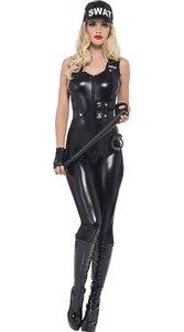 Image 3 - Costume de Police Sexy pour femmes, uniforme de Cosplay pour Halloween, 2020, combinaison de tireur délite, cuir synthétique polyuréthane noir