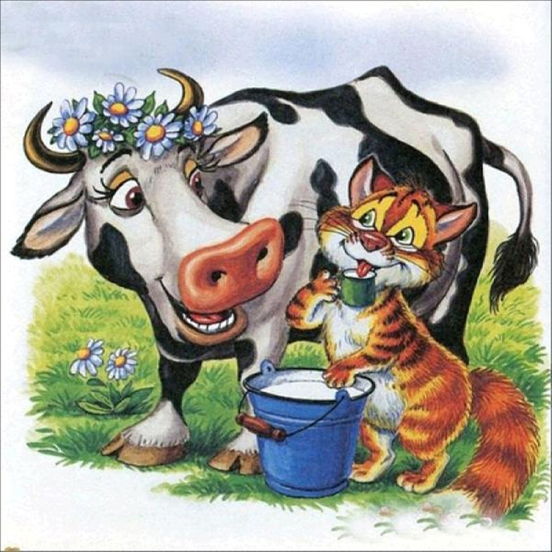 5D DIY Diamond Painting Full Drill Cross Stitch Cow And Cat Embroidery Decor New in Diamond Painting Cross Stitch from Home Garden