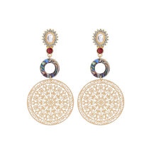 ZWPON Cirlce Abalone Gold Filigree Round Flower Disc Drop Earrings Women Pearl Earrings Geometric Jewelry Wholesale(China)