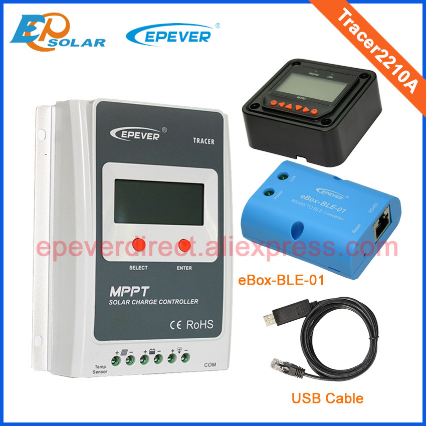 Best price for 20A Tracer2210A mppt solar controller with MT50 bluetooth function and USB best price 5pin cable for outdoor printer
