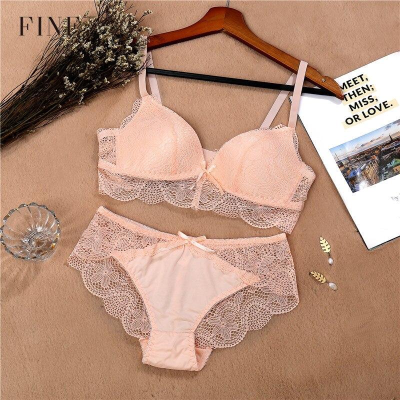 Lace   Bra     Set   For Women Comfort Wireless   Bra   Sexy Lingerie   Set   Fashion Female Wire Free Floral Underwear Suit Cotton Girls Panty