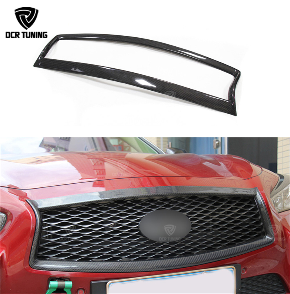 Front Bumper Grille For Infiniti Q50 Q50S Carbon Fiber Grill Trim Cover 2014 2015 2016 2017 Car styling image