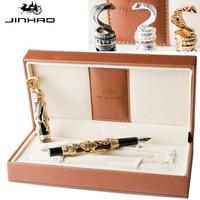 High Quality Jinhao Metal Snake Fountain Pen Luxury Calligraphy Ink pen Iraurita Cobra 3D Pattern Gift MB Nib Office Supplies