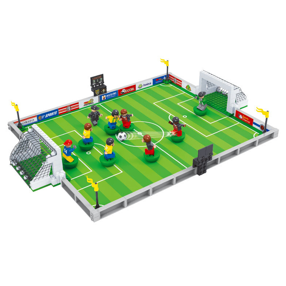 New 2019 World Football City Football Field Fit Soccer Figures City Model Diy Gift Kids