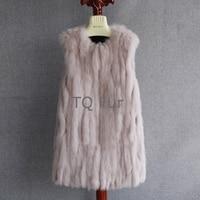 Long Real Fox Fur Vest Fox Fur Gilet Overcoat Outwear Vertical Shape Sewing Coat