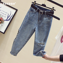 NEEDBO Women Pants jeans 2019 Casual Women Trousers Plus Size High Waisted Pantalon Femme Casual Loose Women Trousers Pant Jeans цена