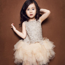 2016 Summer New Lace Vest Girl Dress Baby kid Girl Princess Dress 2-7 Age Chlidren Clothes Kids Party Costume Ball Gown Beige