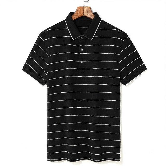 2019 Nuovi Uomini di Alta Qualità T Shirt di Seta degli uomini di Estate manica Corta tshirt Uomo di Seta Cotone t degli uomini della camicia camicia di affari nera - 3