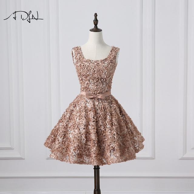 ADLN Chic Lace Short Cocktail Dress 2018 A-line Semi-formal Party Wear Mini  Homecoming Gown 10e4918e8
