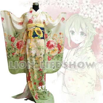 Japanese Japan Women Light Green Floral Long Furisode Kimono Cosplay Costume - Category 🛒 Novelty & Special Use