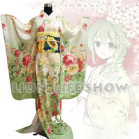 Japanese Japan Women Light Green Floral Long Furisode Kimono Cosplay Costume