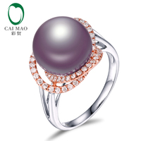 New collection 18k Gold precious 11 12mm Round Freshwater Pearl Ring 0.41ct Natural Diamond manufacturer