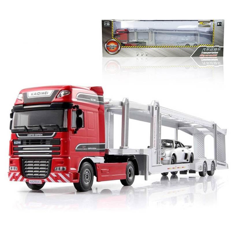 1:50 Scale Alloy Car Transporter Toy New Engineering Truck Toys For Children 1 50 drill wagon alloy truck engineering vehicle toy car model dinky toys for children boys gift