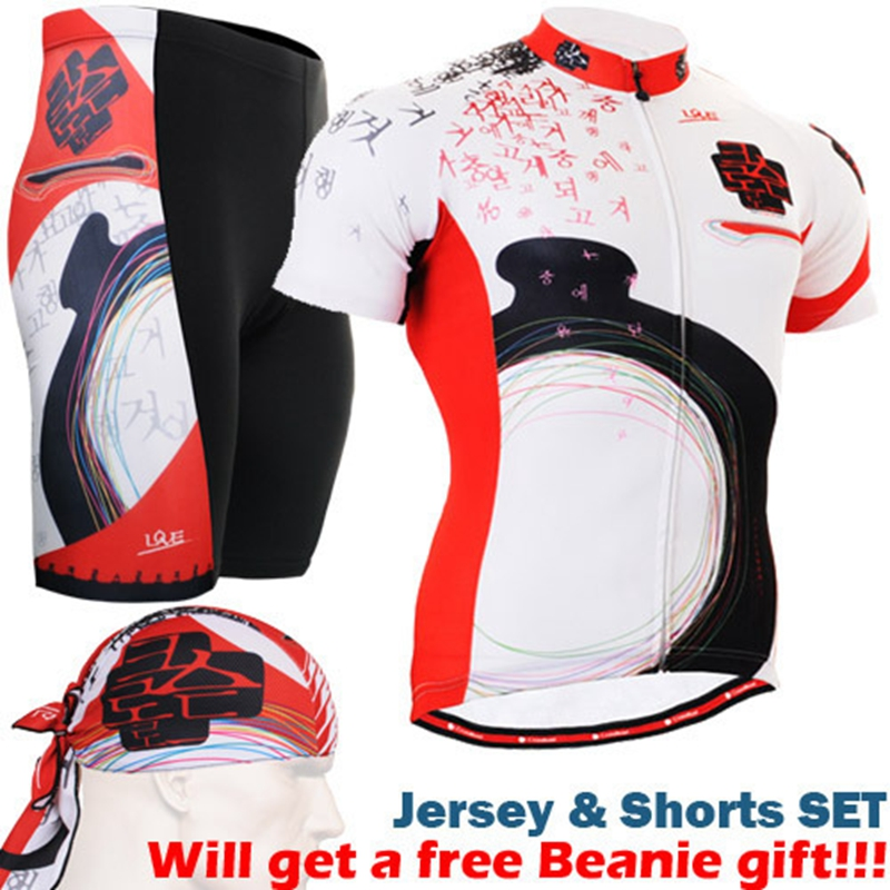 2017 cycling sets 2017 Geometric cycling suits black white red jersey set riding jerseys+padded short