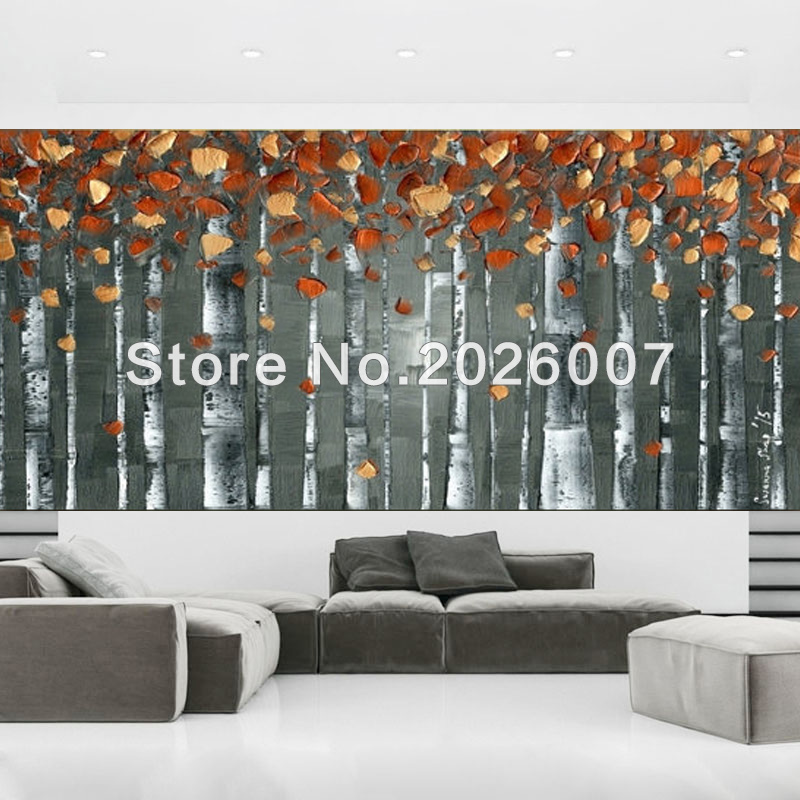 Hand Painted Grey Orange Trees Landscape Modern Palette Knife thick oil painting Canvas Wall Decor Living Room Artwork Fine Art
