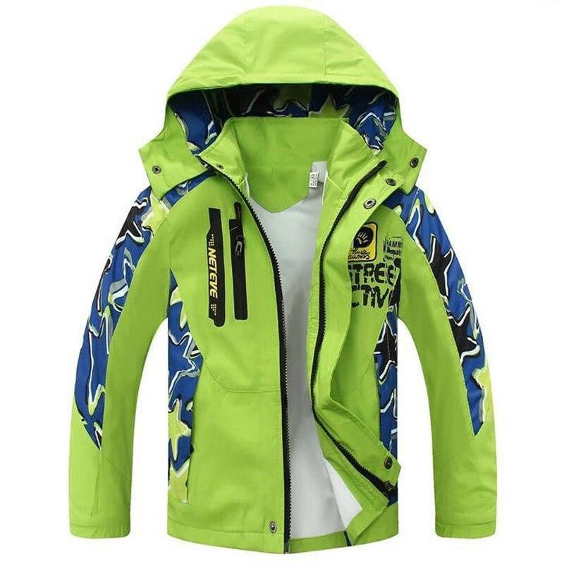 Ветрозащитный Обувь для мальчиков верхняя одежда Детские куртки для мальчиков; пальто Детская одежда для активного отдыха двухслойная