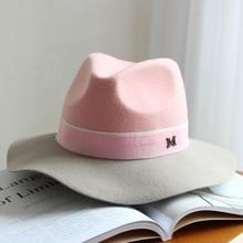 Elegant winter womens M letter 100% wool Jazz fedoras hat pink hat for women ladies large brim cowboy panama fedoras hat