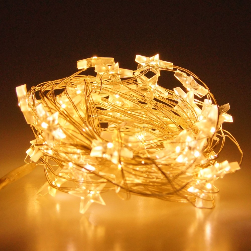 6M 40 Beads USB LED Copper Wire String Lights with Crystal Star ...