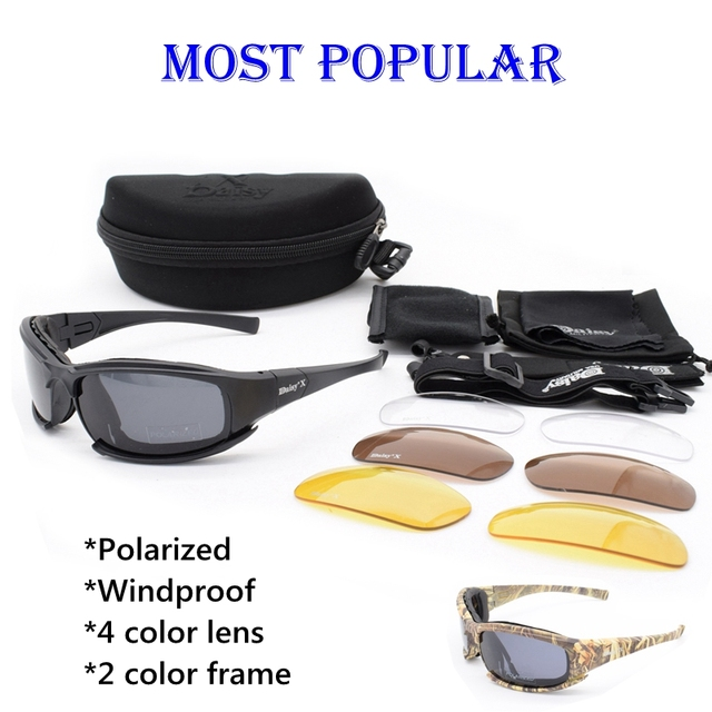 57614ff2cc Army Goggles Sunglasses Men Military DAISY Sun glasses Male 4 Lens Kit For  Men s War Game Tactical Glasses Outdoor