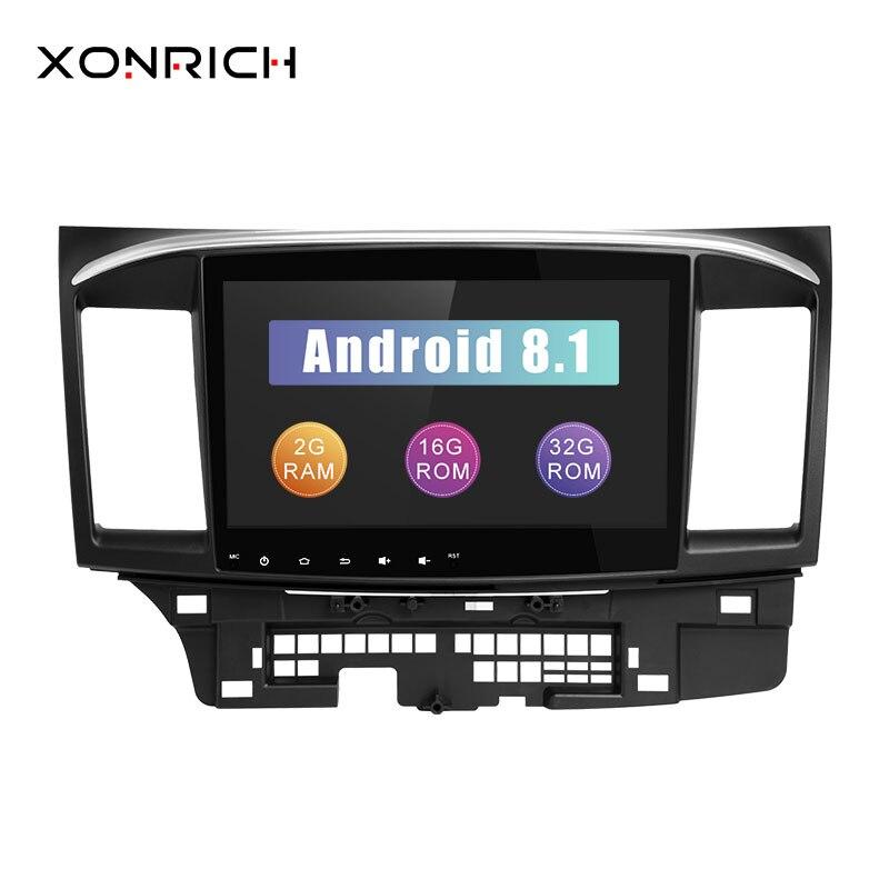 Xonrich Voiture DVD Lecteur 2 Din Pour Mitsubishi Lancer X 9 Android 8.1 2008-2015 10.1 pouce 3g /4g Audio Stéréo GPS Radio Vidéo WiFi